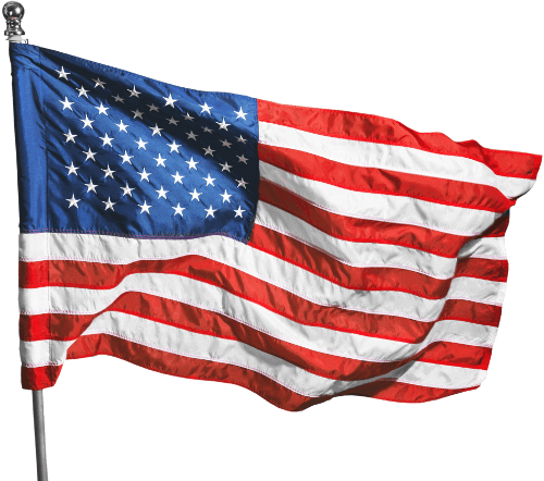 American flag waving in the wind, attached to a pole